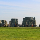 People viewing UNESCO world heritage site Stonehenge in Wiltshire England