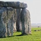 Closeup view of boulders with moss growing on them at UNESCO world heritage site Stonehenge in Wiltshire England