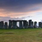 UNESCO world heritage site Stonehenge in Wiltshire England during sunset