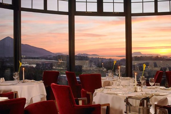 La-Fougere-Restaurant-at-sunset—Knockranny-House-Hotel