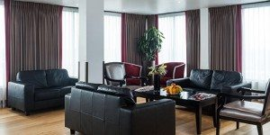 Inside lounge area with sofas at Park Grand Hotel London Heathrow